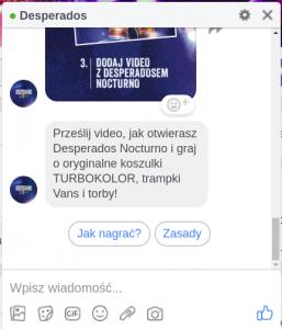 Chatbot w messenger Desperados - wiadomość konkursowa