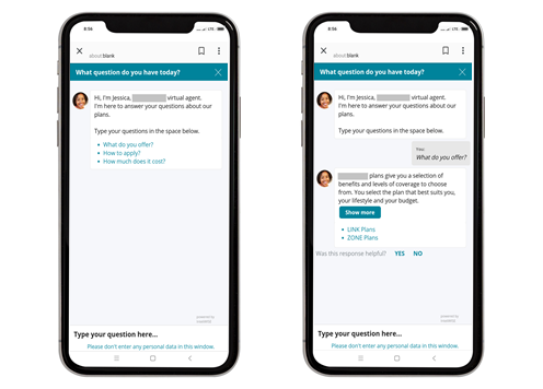 Chatbot Jessica suggests several conversation topics by default. After selecting an offer, the user can check available plans.