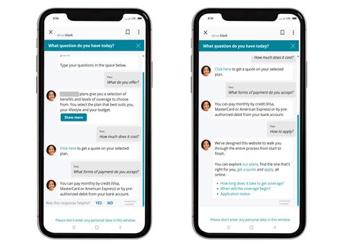 Chatbot rozwieje również wątpliwości dotyczące kosztów i sposobów płatności za produkty. Jessica przeprowadzi użytkownika przez proces aplikowania o wybrany pakiet ubezpieczenia zdrowotnego.