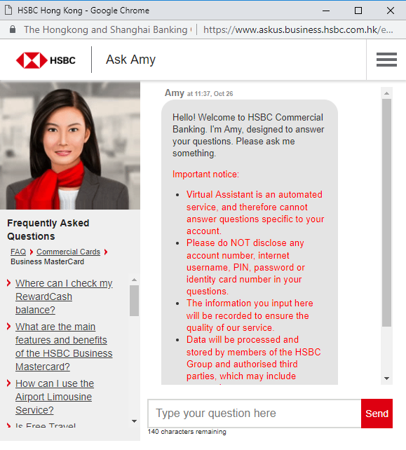 Amy is a customer service platform for corporate banking in HSBC Hong Kong