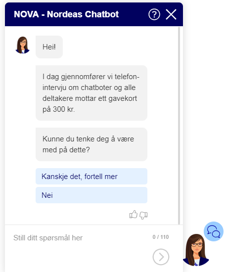 Chatbot NOVA works for Nordea Life & Pensions in Norway and is available via the website
