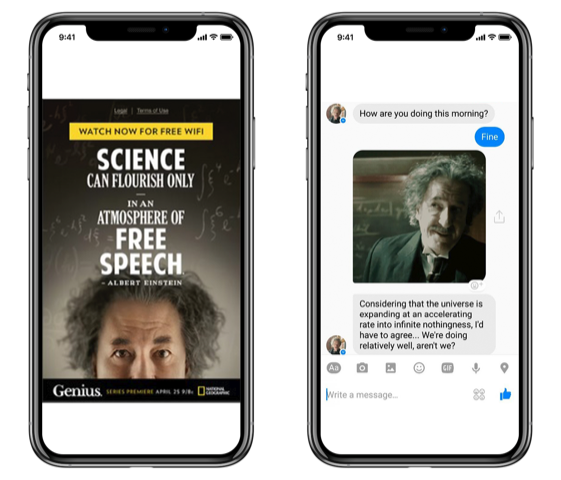 "National Geographic used Chatbot to promote their new ""Genius"" series"