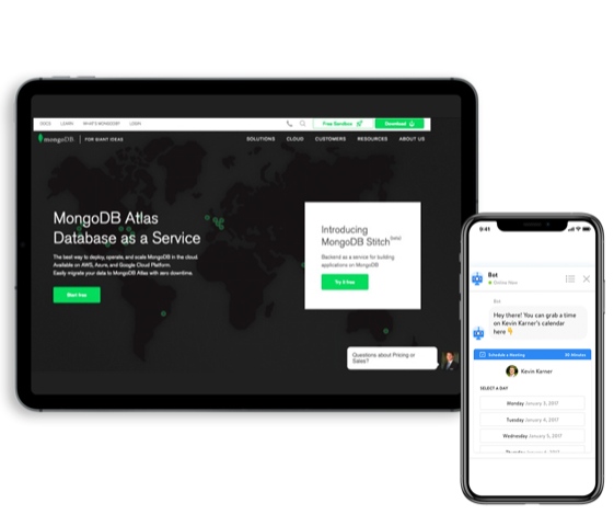 MongoDB is an open, cloud-based database program. To increase lead generation and qualify potential customers more effectively, the company has installed Chatbot on its website