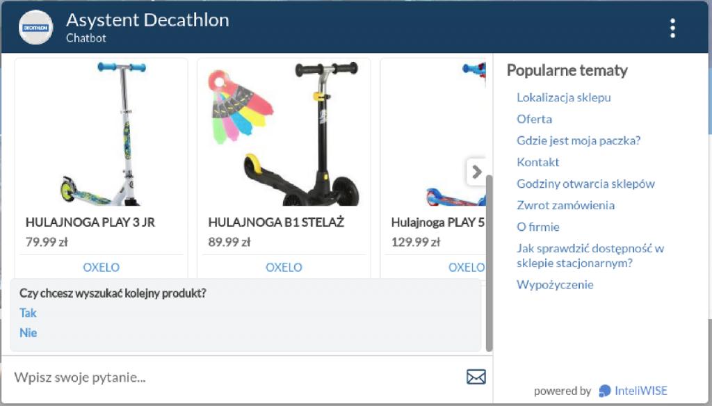 Chatbot Decathlon, wdrożenie InteliWISE