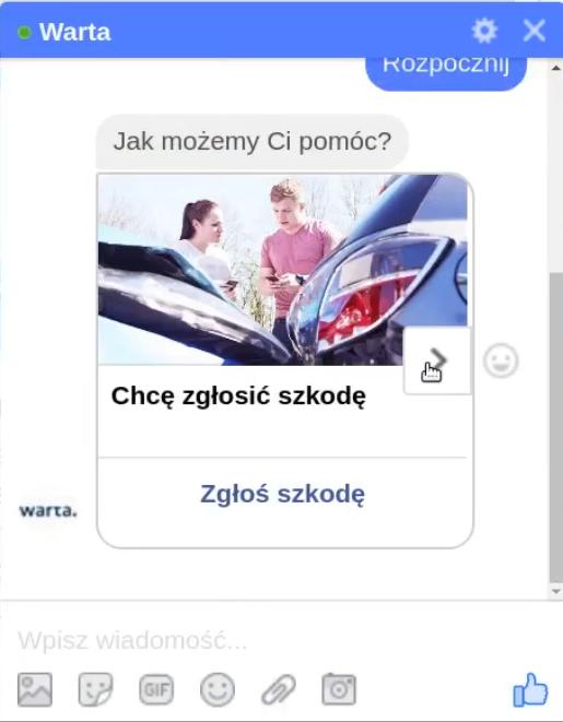 Messenger Chatbot wdrożony na fanpage Warta.