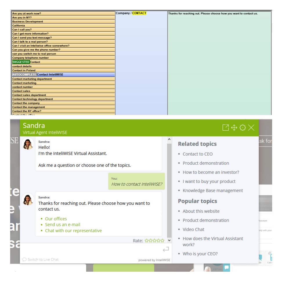 okno rozmowy chatbot z wyświetloną przykładową komunikacją ścieżki.