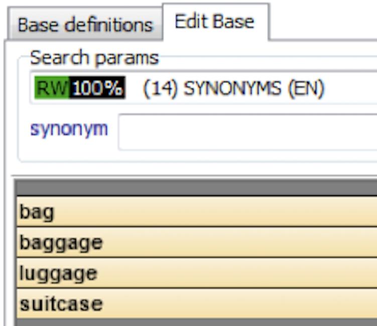 Zrzut ekranu prezentujący zestaw słów bliskoznacznych.