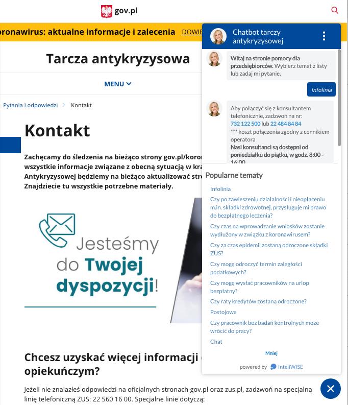 Zrzut ekranu prezentujący działanie chatbota i jego systemów AI w praktycznym zastosowaniu na stronie rządowej dotyczącej tarczy antykryzysowej