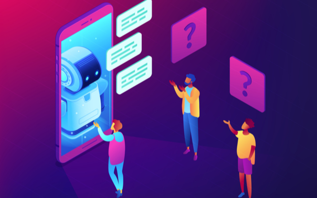 smartphone with a bot, people talking to a voicebot, speech balloons