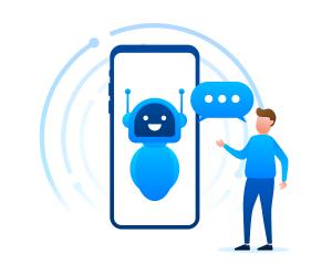 człowiek rozmawiający z voicebotem inteliwise